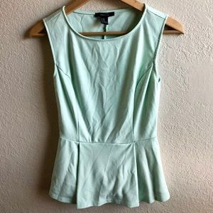 forever 21 top // peplum mint green // m
